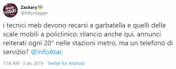 Gli allarmanti annunci nelle metro di Roma