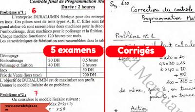 5 examens corrigés Recherche opérationnel pdf