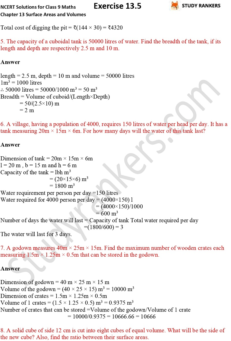 NCERT Solutions for Class 9 Maths Chapter 13 Surface Areas and Volumes Exercise 13.5 Part 2