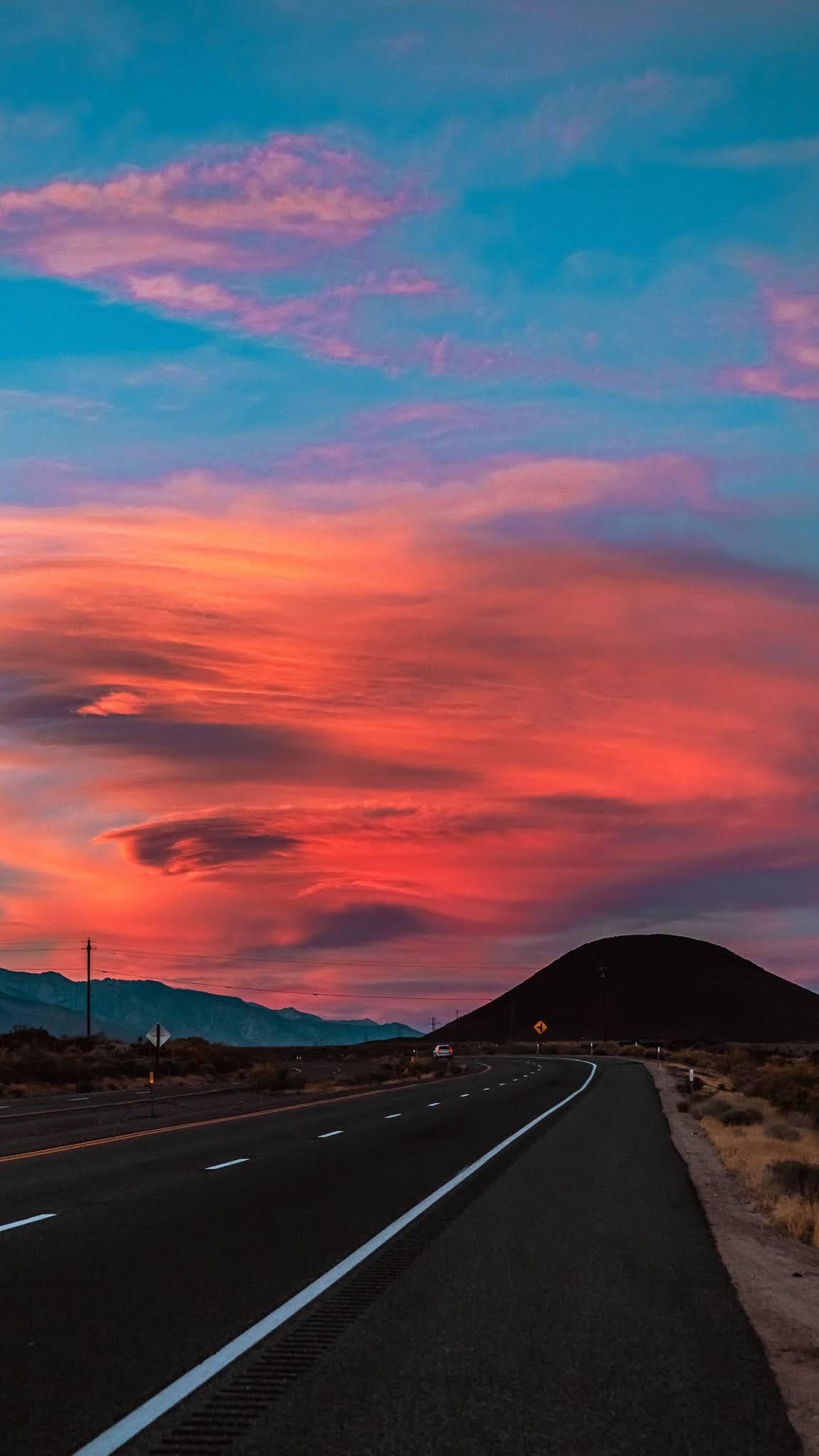 road asphalt sunset mobile wallpaper