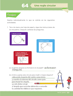 Respuestas Apoyo Primaria Desafíos matemáticos 3ro Grado Bloque IV Lección 64 Una regla circular