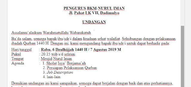 Contoh Surat Undangan Qurban BKM Nurul Iman Dadimulyo