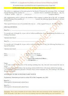 supplementary notice of agm annual general meeting