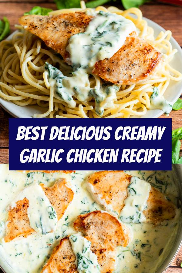 This Creamy Garlic Chicken Recipe with spinach in a creamy parmesan cheese sauce is delicious over hot pasta. #chicken #chickenrecipe #pasta #parmesan