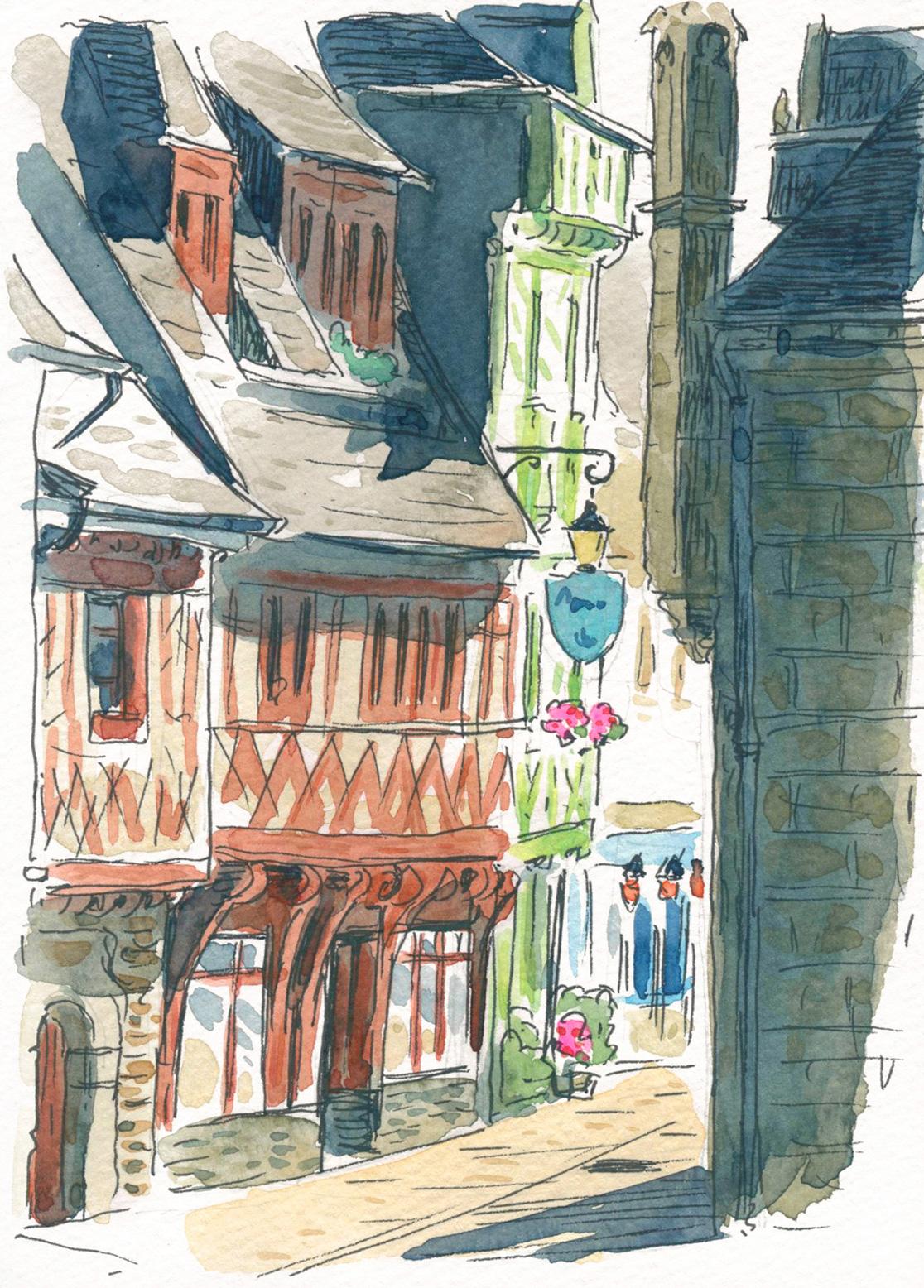 watercolor sketch of Josselin