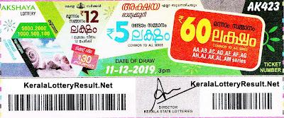 kerala lottery result 11-12-2019 Akshaya AK 423
