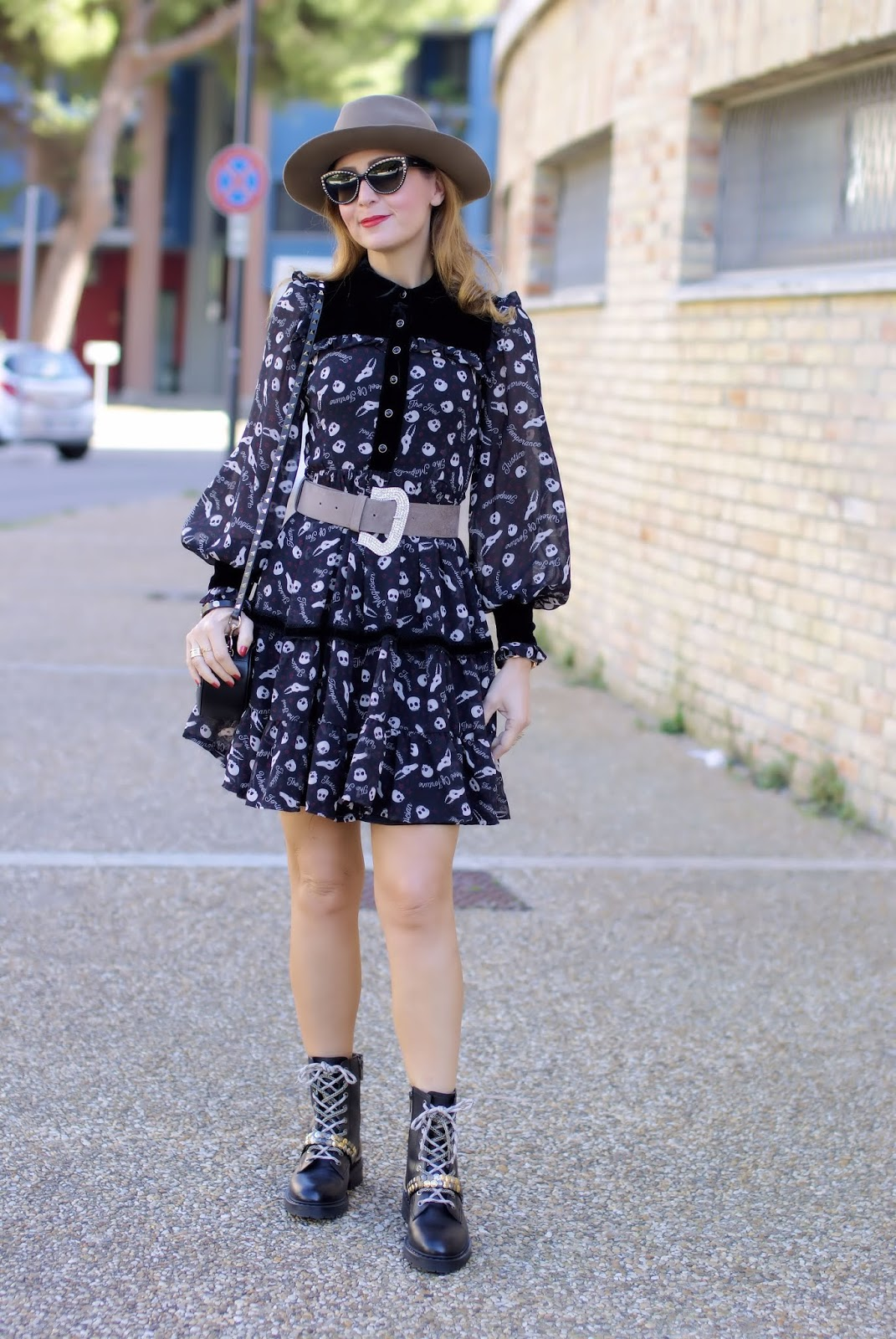 Halloween outfit idea: skull print dress from Maggie Sweet on Fashion and Cookies fashion blog, fashion blogger style