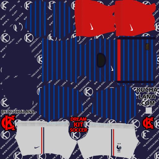 KIT ĐTQG Pháp (France) Dream League soccer 2021- Kit Pháp 2021 DLS