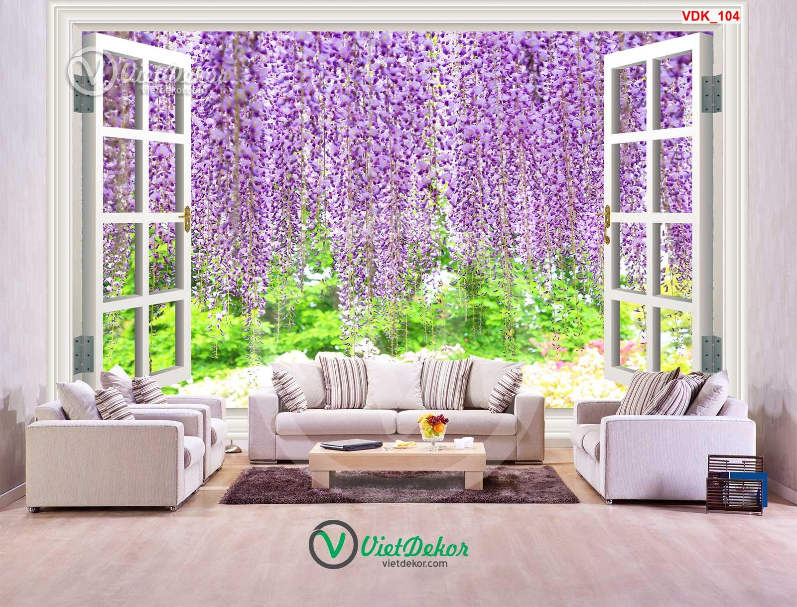 Tranh dán tường 3d cửa sổ dàn hoa phong lan