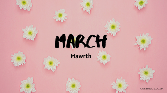 'March - Mawrth' with pink background and flowers
