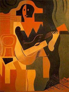 contoh karya kubisme harlequin with a guitar