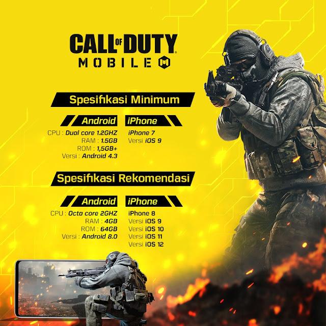 Info Resmi Spesifikasi HP Untuk Game Garena Call Of Duty Mobile