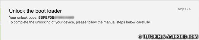 SONY : Bootloader Unlock Code