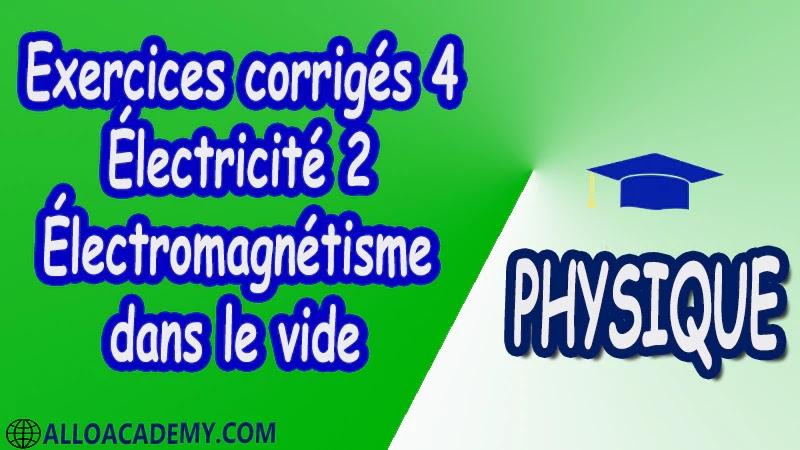 Exercices corrigés 4 Électricité 2 ( Électromagnétisme dans le vide ) pdf