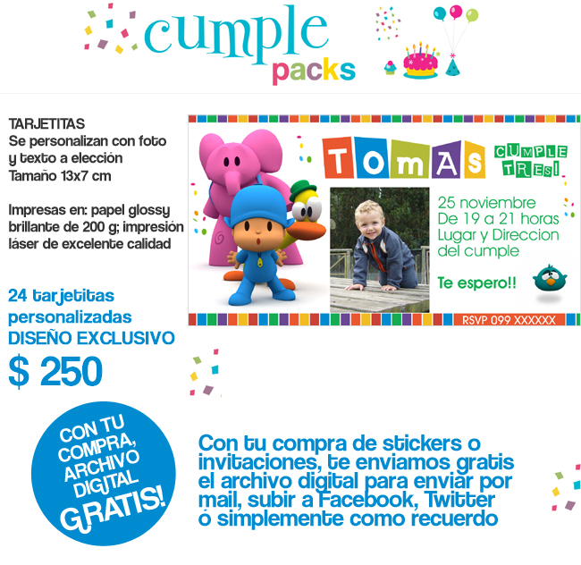 Cumple Packs Pocoyo Tarjetita Imane Sticker Y Cartel