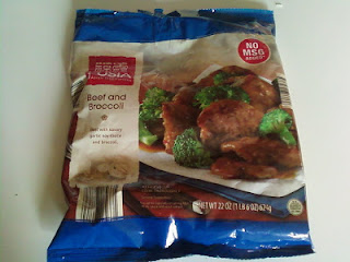 A bag of Fusia Beef with Broccoli Frozen Meal, from Aldi