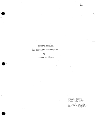 Mike's Murder screenplay James Bridges