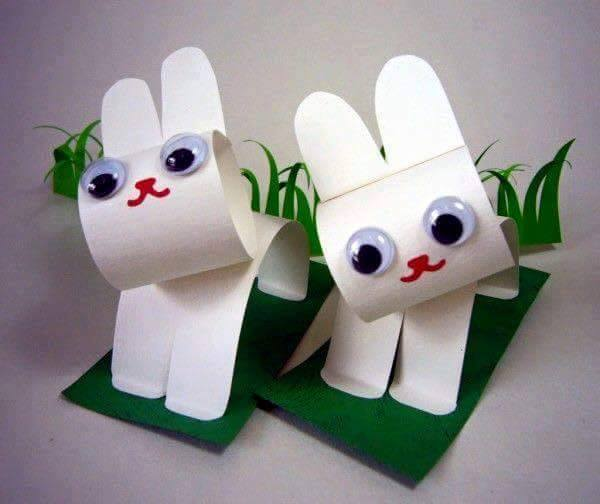 Idea to make something from paper for kids : rabbit