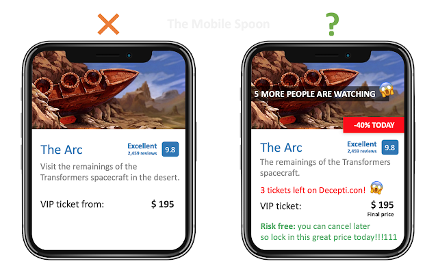 Scarcity Effect - the drastic approach (as can be seen in well-known hotel booking apps - the mobile spoon