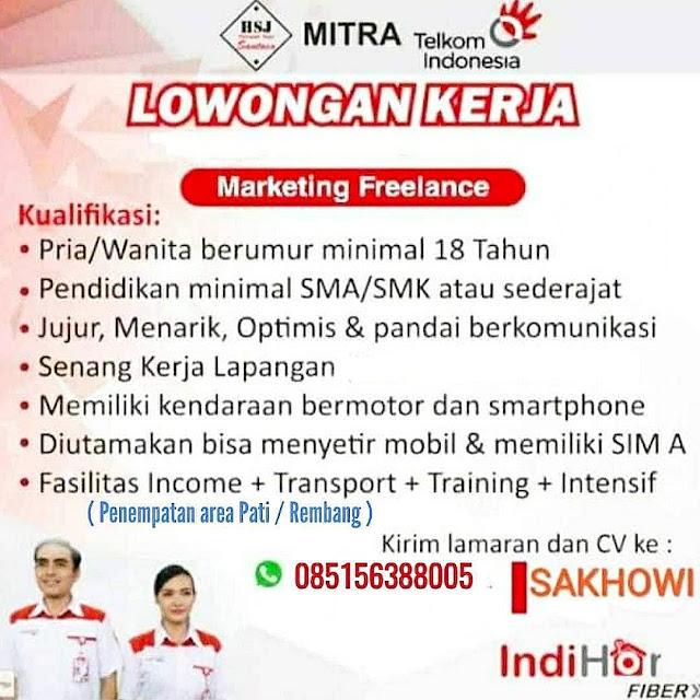 Lowongan Kerja Marketing Freelance Indihome Telkom Indonesia Rembang Dan Pati