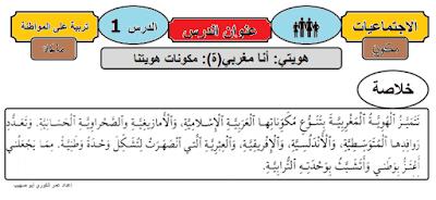 ملخصات دروس التربية على المواطنة 1 و 2 و 3 المستوى الرابع