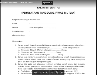 Pakta Integritas BOP PAUD 2017