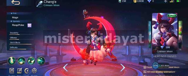 Mobile legends telah merilis skin terbaru untuk hero mage Chang Script Skin Elite Change Crimson Moon Mobile Legends Gratis