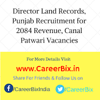 Director Land Records, Punjab Recruitment for 2084 Revenue, Canal Patwari Vacancies