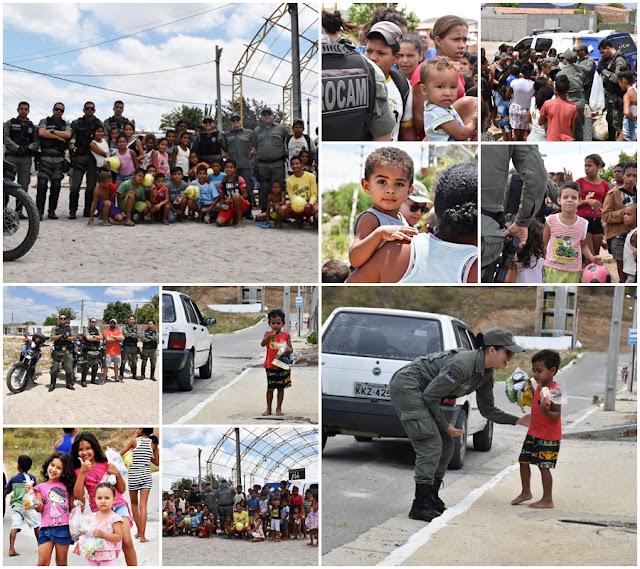 Dia da criança e comemorado pela polícia com distribuição de presentes para crianças carentes na região do 3º BPM em Arcoverde.