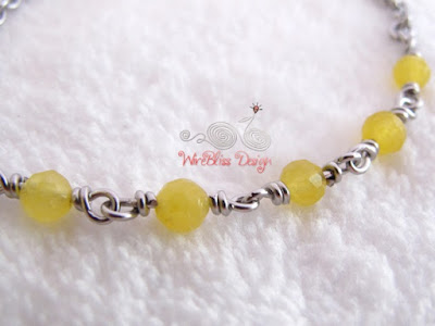 Wire Wrapped Minlet (Minima Bracelet) with Yellow Agate