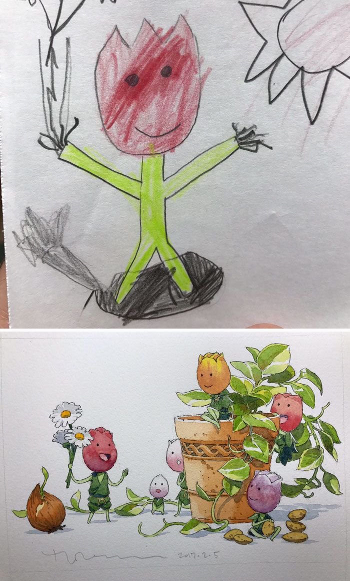 #2 Tulip Brothers - Dad Turns His Sons' Doodles Into Anime Characters, And The Result Is Amazing