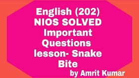NIOS ENGLISH (202) |  IMPORTANT QUESTIONS AND ANSWERS SUBJECT - ENGLISH