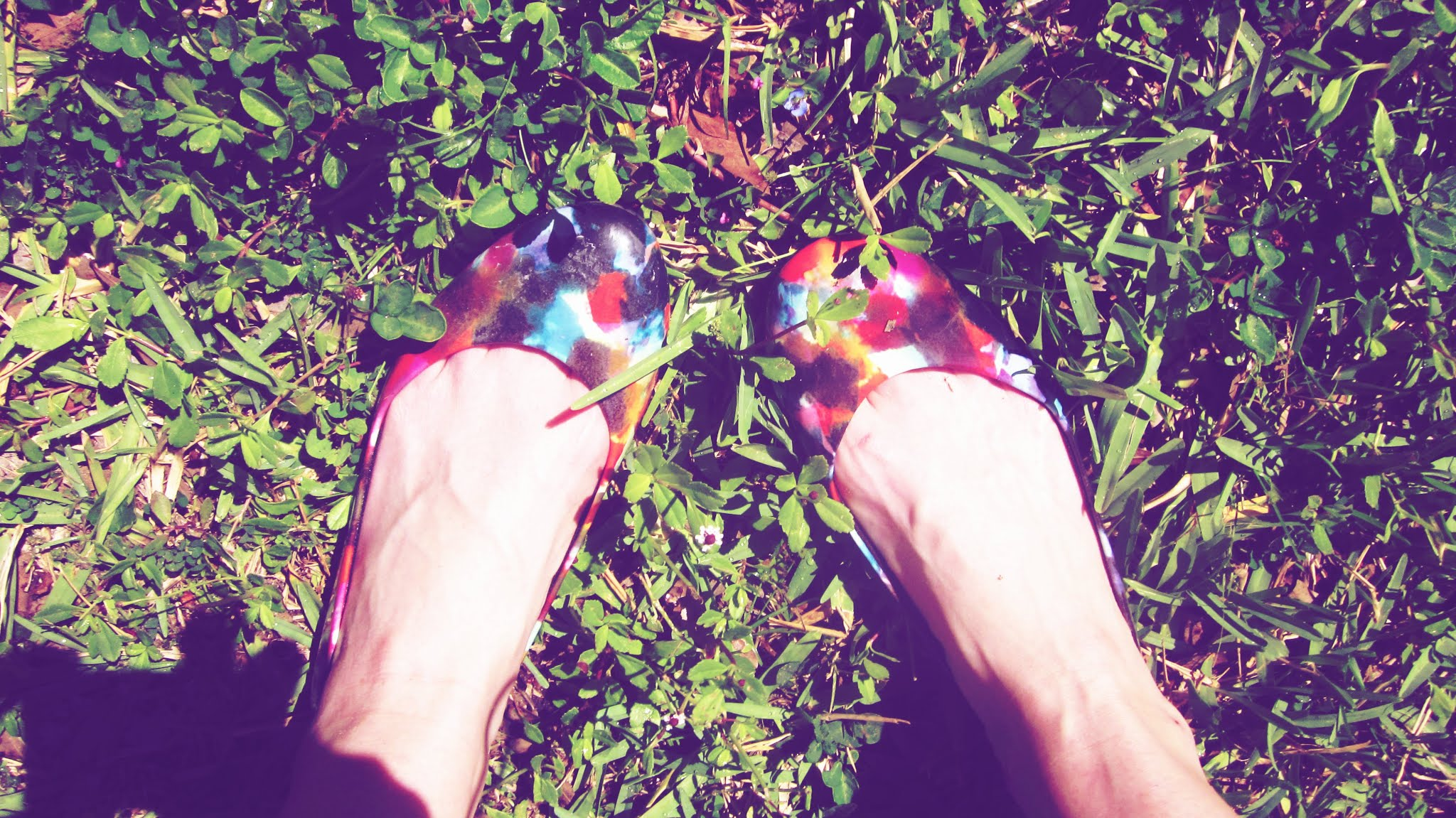 A pair of colorful art shoes in the dark green grass in summer