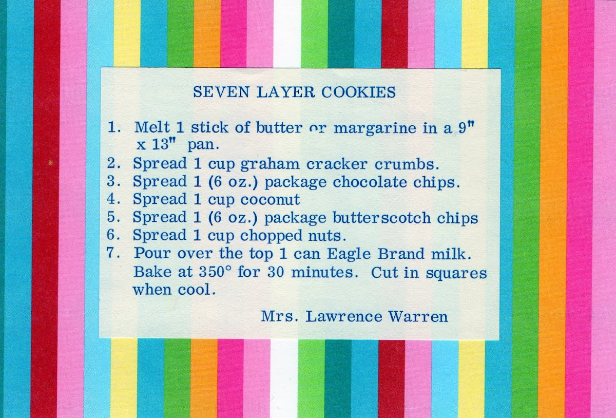 Seven Layer Cookies (quick recipe)