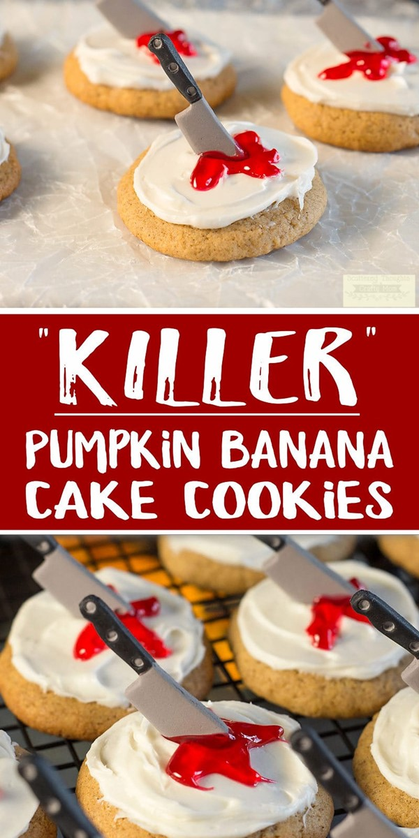 """Killer"" Pumpkin Banana Cookies #halloweenrecipes"