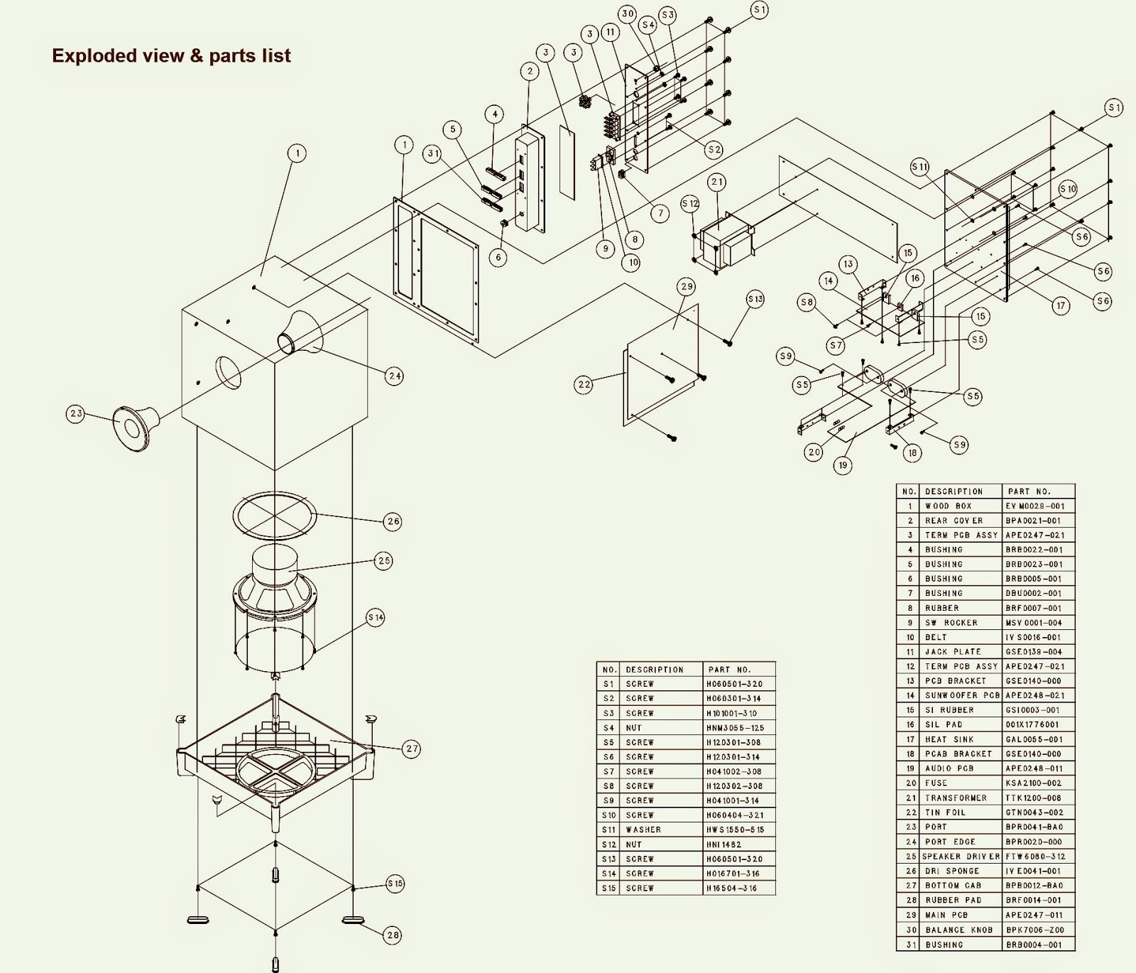 Jbl Sub350 Schematic Diagram Exploded View Parts