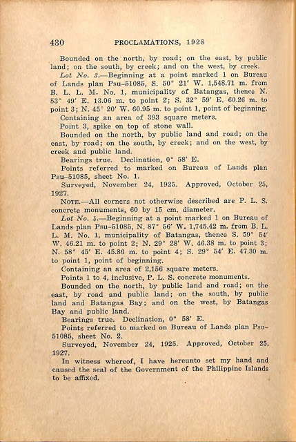 Proclamation No. 184 s. 1928 English version, continued.