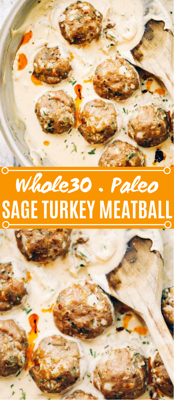 Turkey Sausage Meatballs In Sage Cream Sauce #paleo #whole30