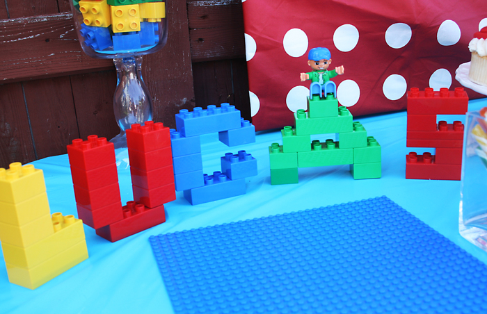 Lego Party   Darling Darleen   A Lifestyle Design Blog Lucas s name and the number 5 in Lego blocks  Lego mats used for food  platter s