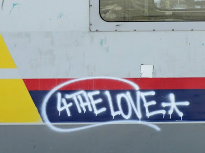 graffiti for the love on belgian train
