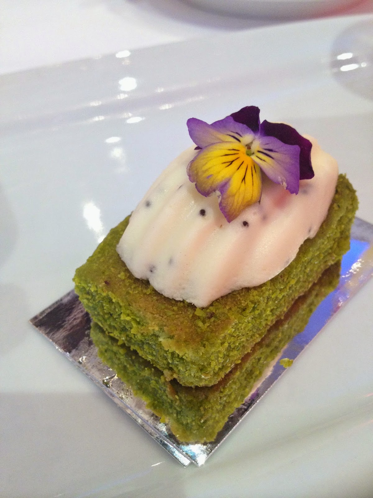 pistachio sponge cake for afternoon tea