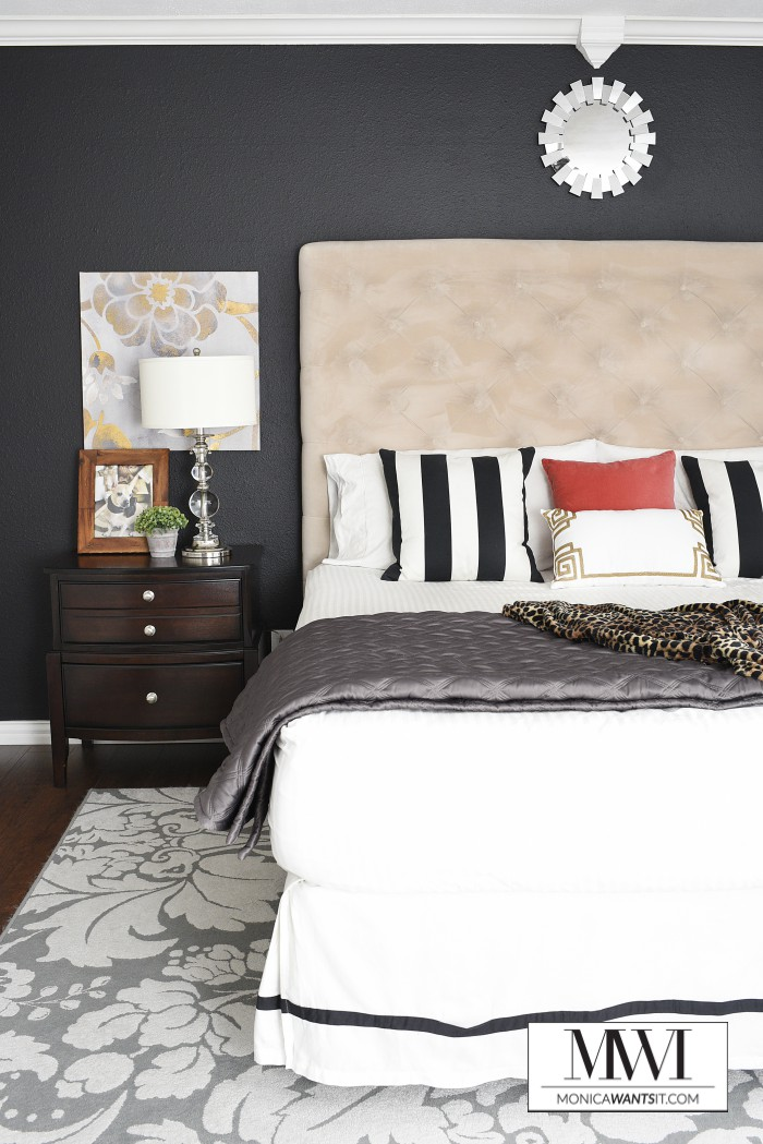 Sherwin-Williams Tricorn Black paint, matte finish in a master bedroom.
