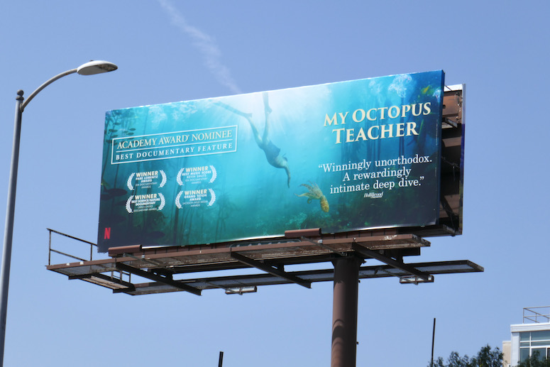 My Octopus Teacher Oscar nominee billboard