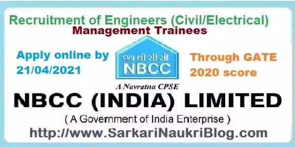NBCC Management Trainees Recruitment 2021