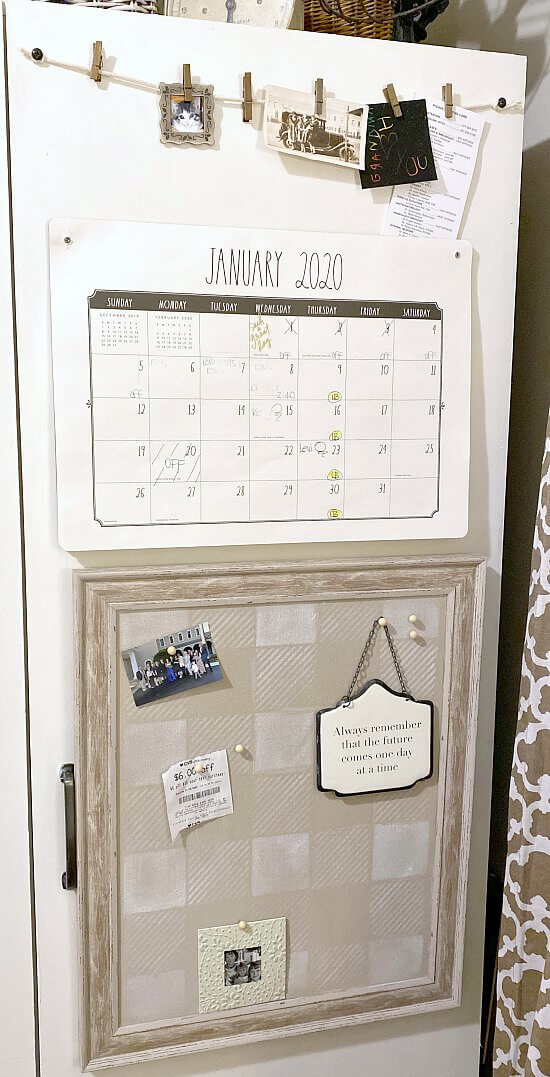 Neutral buffalo check pin board for the home office