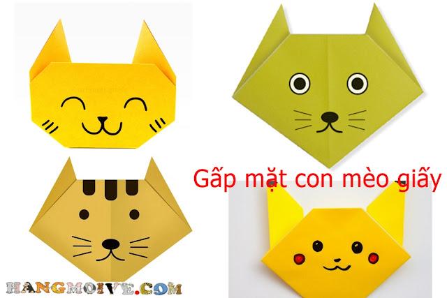 Cách gấp, xêp Mặt con Mèo bằng giấy Origami - How to make a paper Face's Cat