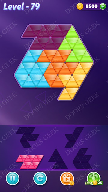 Block! Triangle Puzzle 5 Mania Level 79 Solution, Cheats, Walkthrough for Android, iPhone, iPad and iPod
