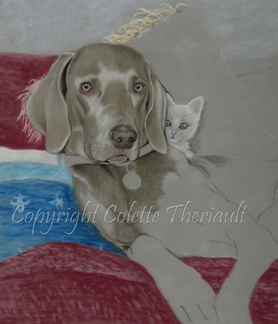 Dog portrait on the easel by pet artist Colette Theriault