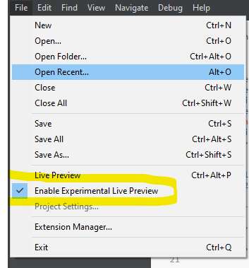 Enable experimental live preview Feature in Brackets