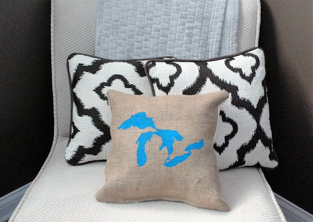 Great Lakes burlap pillow in blue by Lina and Vi Plymouth MI